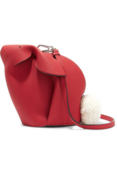 Loewe - Bunny Mini Shearling-trimmed Textured-leather Shoulder Bag in red