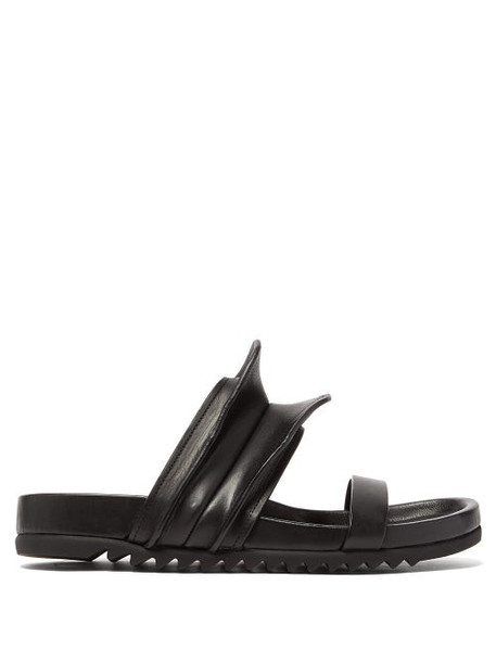 Rick Owens - Brancusi Sculpted Leather Slides - Womens - Black
