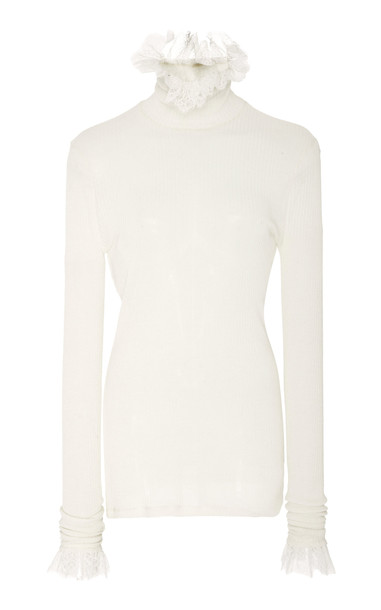 Philosophy di Lorenzo Serafini Ruffled Knit Top in white