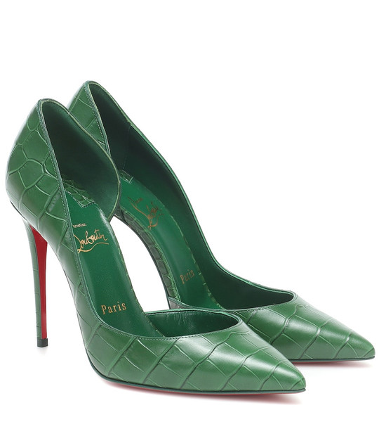 Christian Louboutin Iriza 100 croc-effect leather pumps in green
