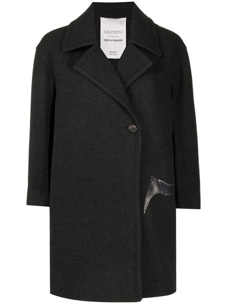 Valentino Flowersity single-breasted coat in grey
