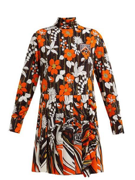Prada - Roll Neck Floral Print Mini Dress - Womens - Orange Multi