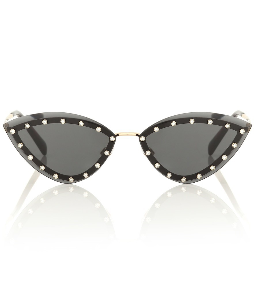 Valentino Embellished triangular sunglasses in black