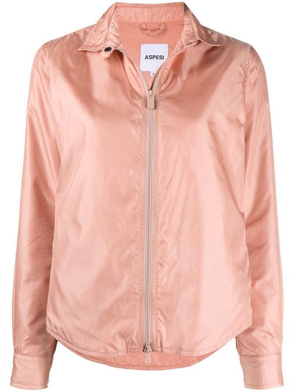Aspesi zip-through shirt jacket in pink