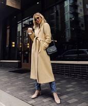 coat,trench coat,long coat,jeans,lace up boots,black bag