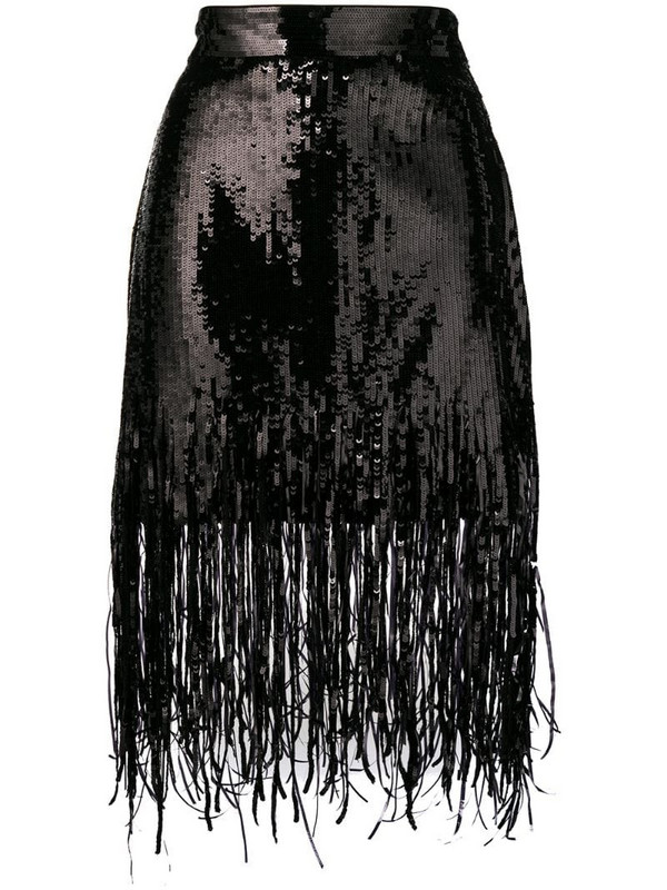MSGM sequin fringed skirt in black