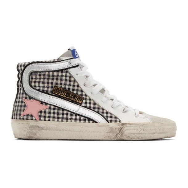 Golden Goose White Check Slide Sneakers