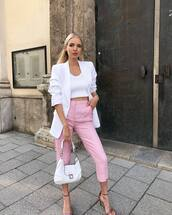 pants,pink pants,cropped pants,high waisted pants,sandals,white bag,white blazer,white top,crop tops