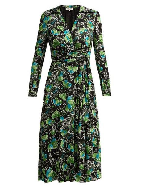 Diane Von Furstenberg - Phoenix Tiger Lily Print Wrap Dress - Womens - Green Print