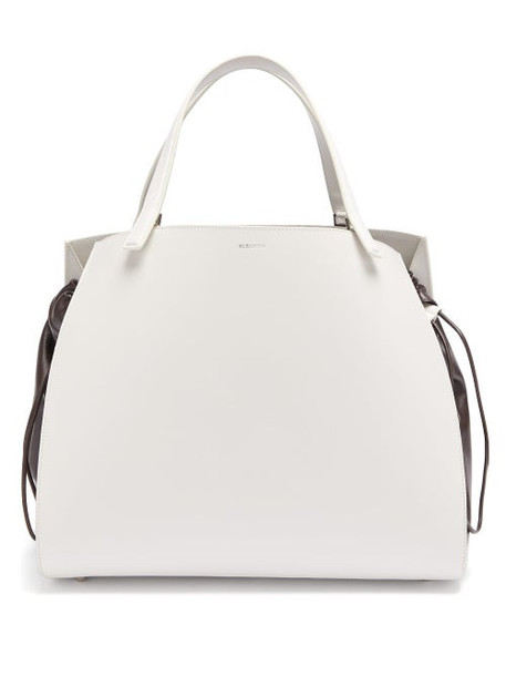 Jil Sander - Drawstring Insert Leather Handbag - Womens - White Multi