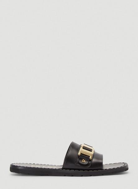 Prada Buckle Slides in Black size EU - 38