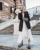 jacket,black blazer,double breasted,asymmetrical dress,white dress,midi dress,h&m,sneakers,dior bag