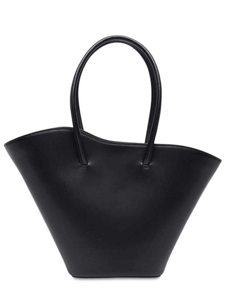 LITTLE LIFFNER Tall Tulip Leather Tote Bag in black