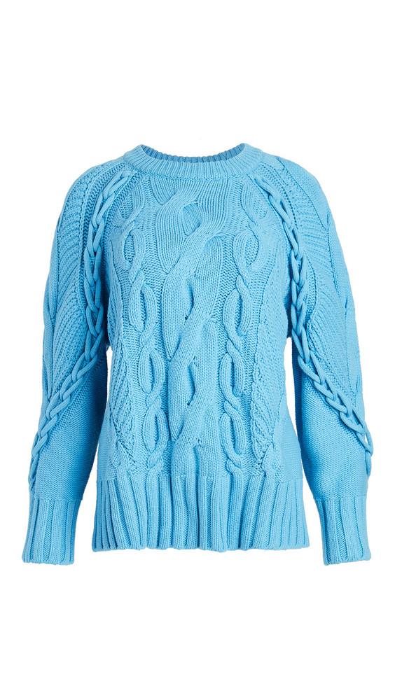 Club Monaco Oversized Cable Crew Neck Sweater in blue