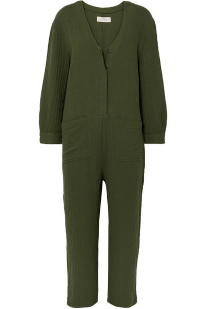 The Great - The Union Cotton-gauze Jumpsuit - Green