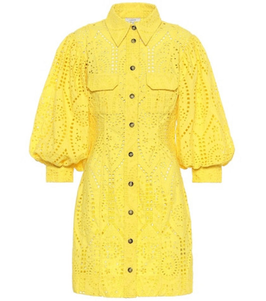 Ganni Exclusive to Mytheresa – cotton broderie anglaise minidress in yellow