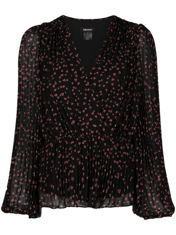 DKNY heart-print V-neck blouse in black