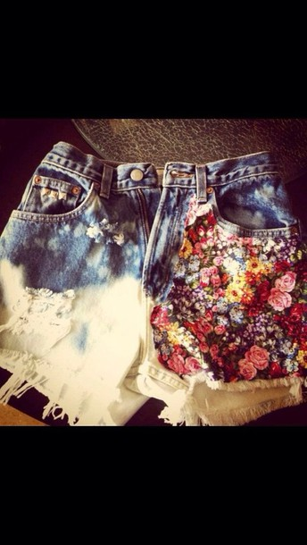 shorts half floral bleached High waisted shorts bleached shorts