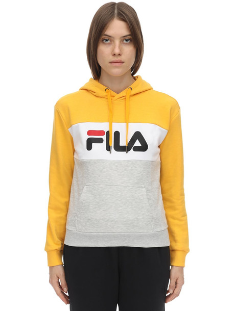 FILA URBAN Logo Cotton Blend Sweatshirt Hoodie in grey / yellow