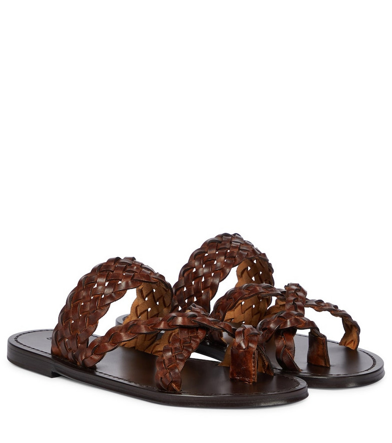 Saint Laurent Braided leather slides in brown