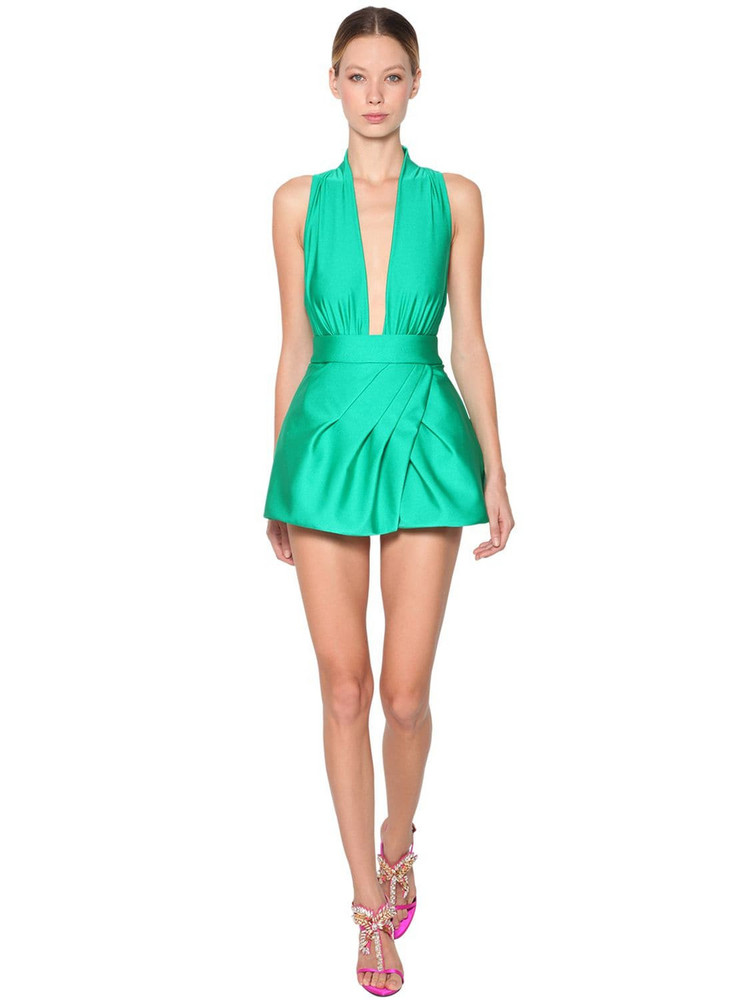 FAUSTO PUGLISI Stretch Jersey Mini Dress in green