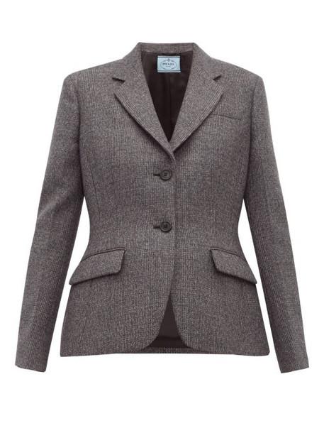 Prada - Galles Mouline Wool Blend Blazer - Womens - Grey