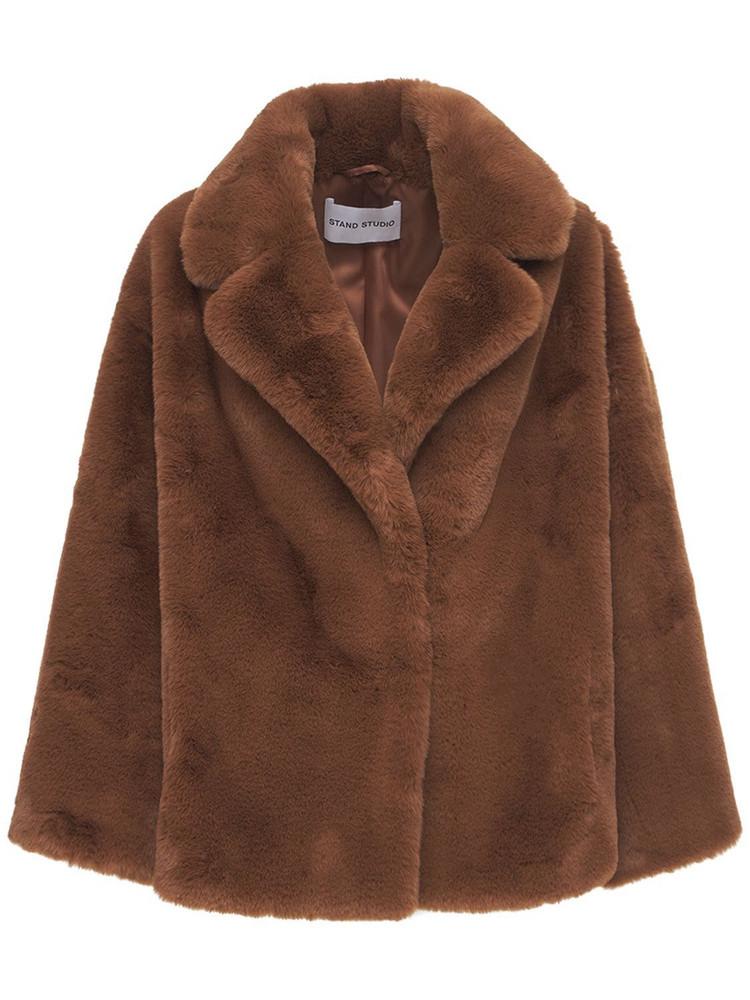 STAND STUDIO Savannah Lush Faux Fur Jacket in brown