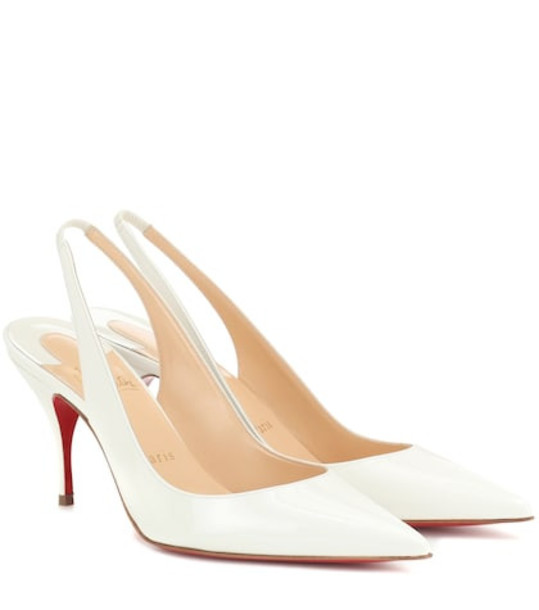 Christian Louboutin Clare 80 leather slingback pumps in white