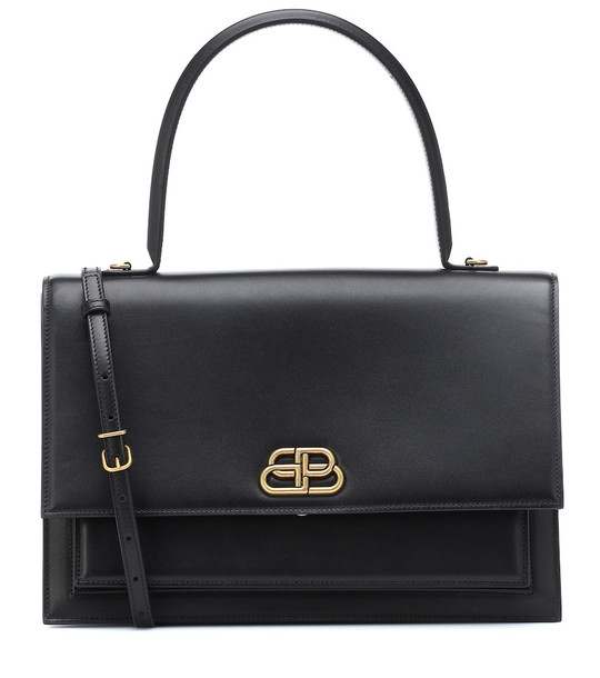 Balenciaga Sharp S leather shoulder bag in black
