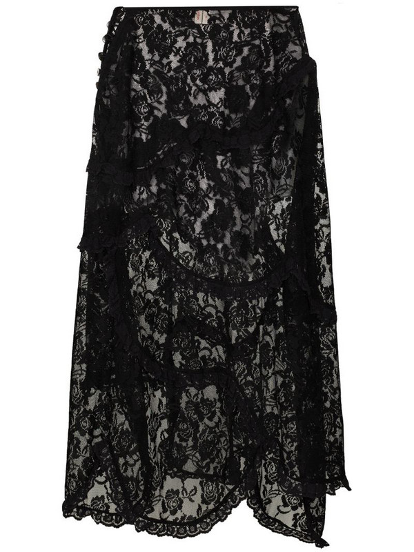 yuhan wang tiered lace midi skirt in black