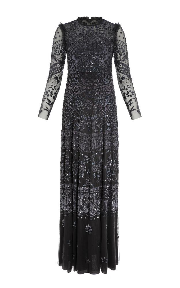 Needle & Thread Aurora Sequin Maxi Dress in black