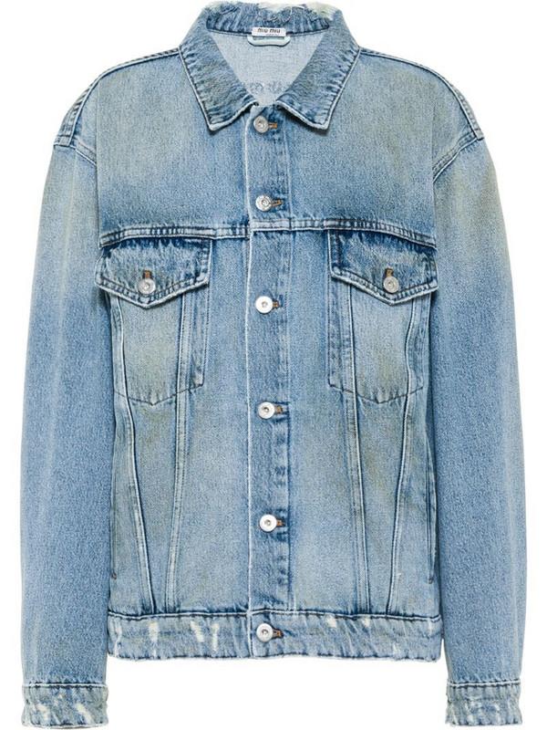 Miu Miu distressed denim jacket in blue