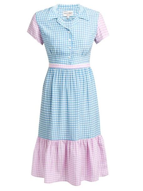 Hvn - Charlotte Contrast Panel Gingham Silk Dress - Womens - Blue Multi