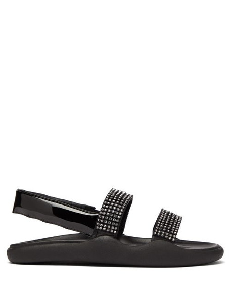 Christopher Kane - Crystal Embellished Leather Slingback Sandals - Womens - Black