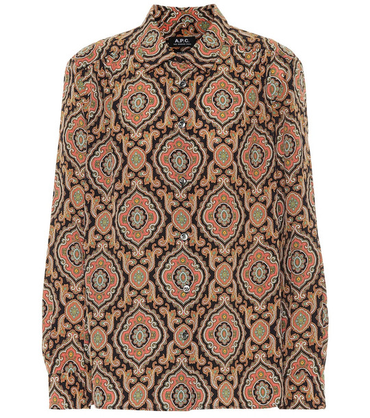 A.P.C. Sutton printed silk blouse in beige