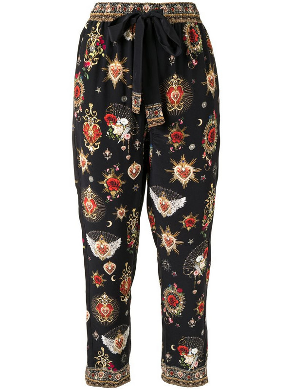 Camilla cropped floral print trousers in black