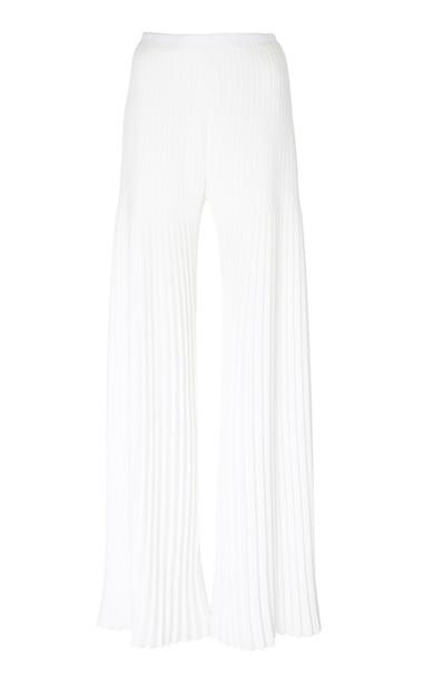 Huishan Zhang Mariella Pleated Georgette Wide-Leg Pants in white