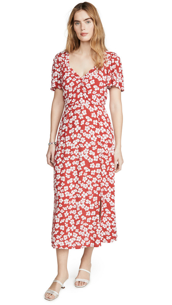 MINKPINK Between You And I Midi Dress in red / white
