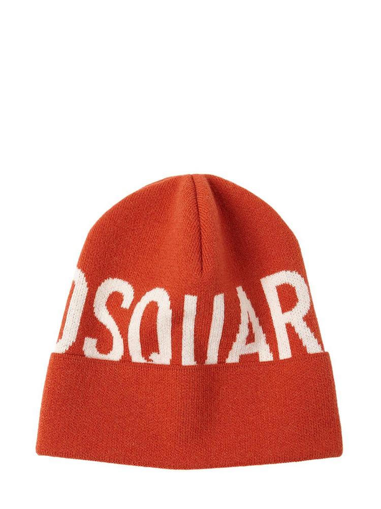 DSQUARED2 Logo Wool Knit Beanie in brick