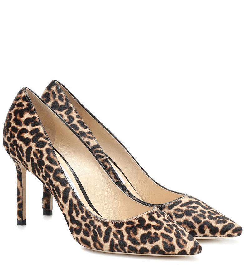 Jimmy Choo Romy 85 calf hair pumps in beige