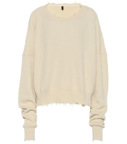 Unravel Ribbed cotton and cashmere sweater in beige