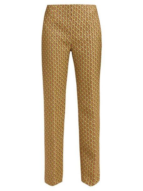 Prada - High Rise Geometric Brocade Trousers - Womens - Green Multi