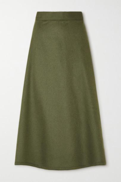 Giuliva Heritage - The Ada Herringbone Camel Hair Midi Skirt - Army green