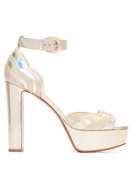 Christian Louboutin - Degratissimo 130 Metallic Leather Platform Sandals - Womens - Silver