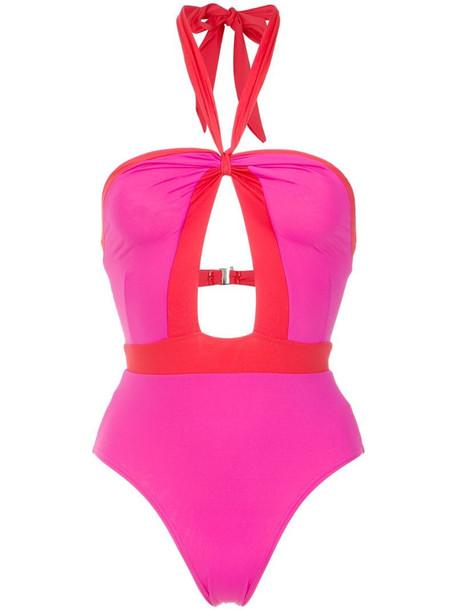 Amir Slama panelled swimsuit in pink
