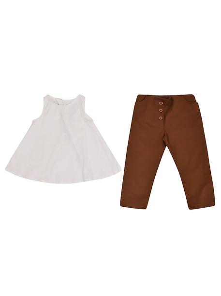 Giro Quadro Classic Top & Trouser Set in brown / white