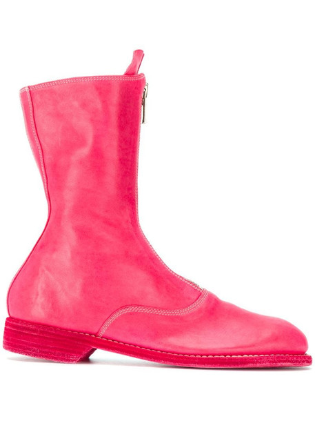 Guidi zip-front leather boots in pink