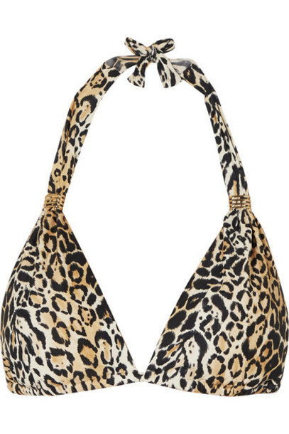 Melissa Odabash - Grenada Embellished Leopard-print Halterneck Triangle Bikini Top - Leopard print