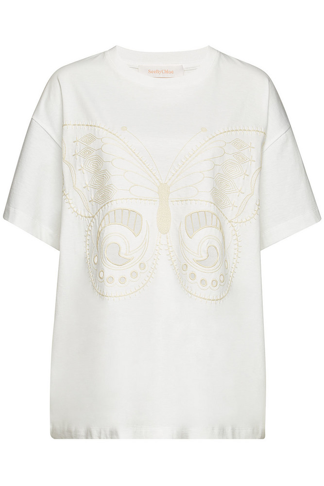See by Chloé Embroidered Cotton T-Shirt  in white
