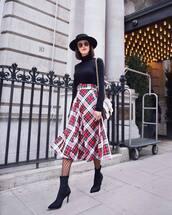 skirt,plaid skirt,midi skirt,black boots,sock boots,heel boots,tights,black turtleneck top,crossbody bag,felt hat